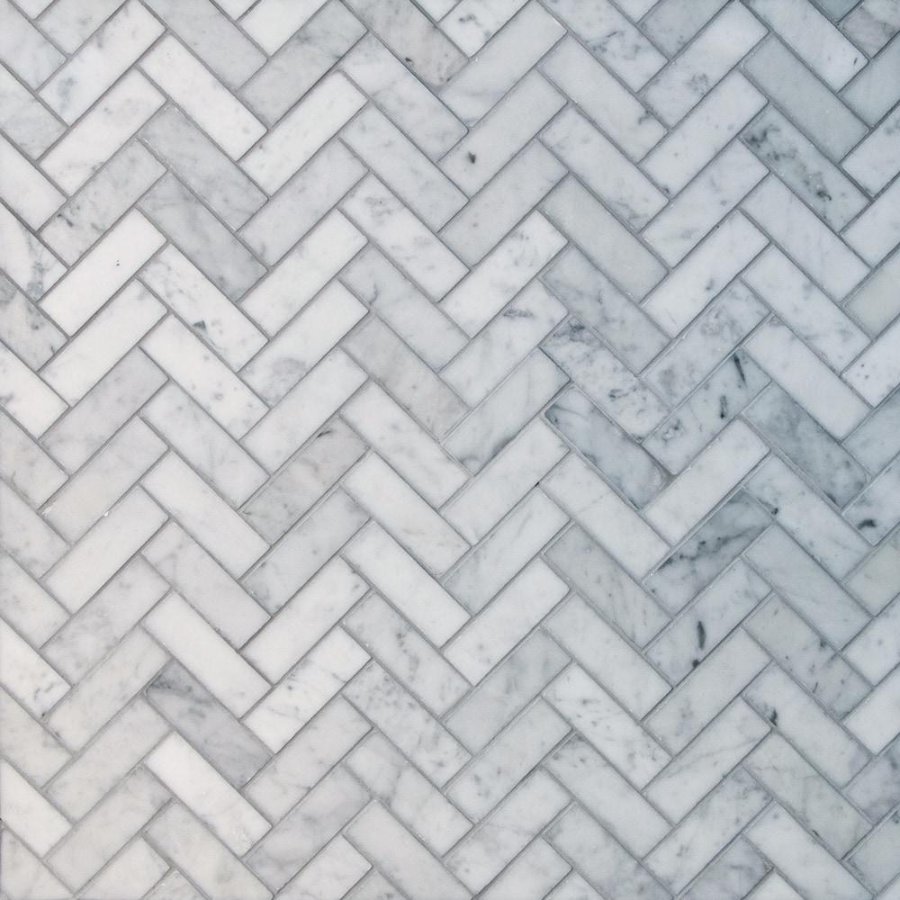 GL Stone & Tile Herringbone Pattern Natural Stone Mosaics Bianco ...