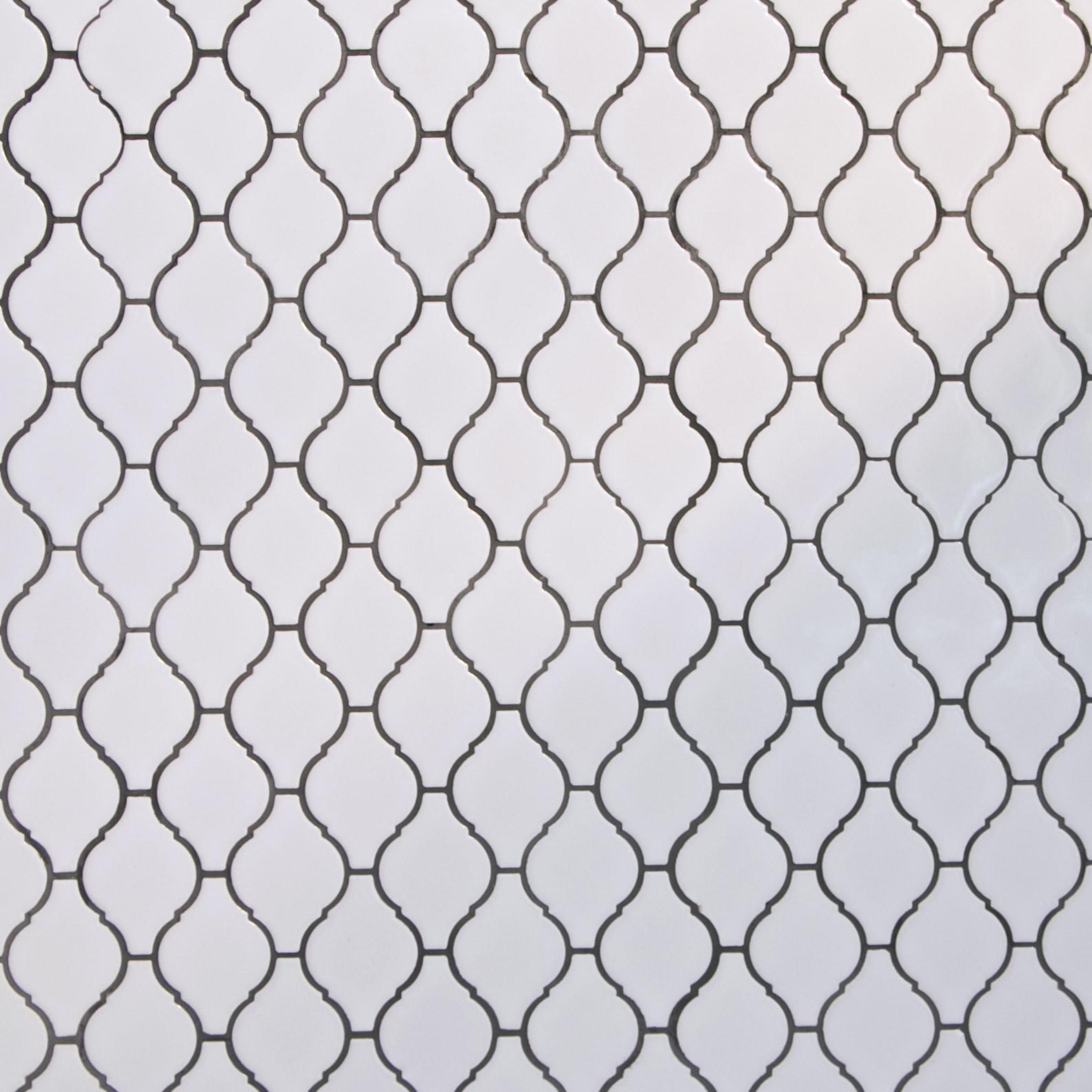 "White, Narrow Pattern / 2.75""x2"" / Glossy Arabesque Lantern Mosaics 0"