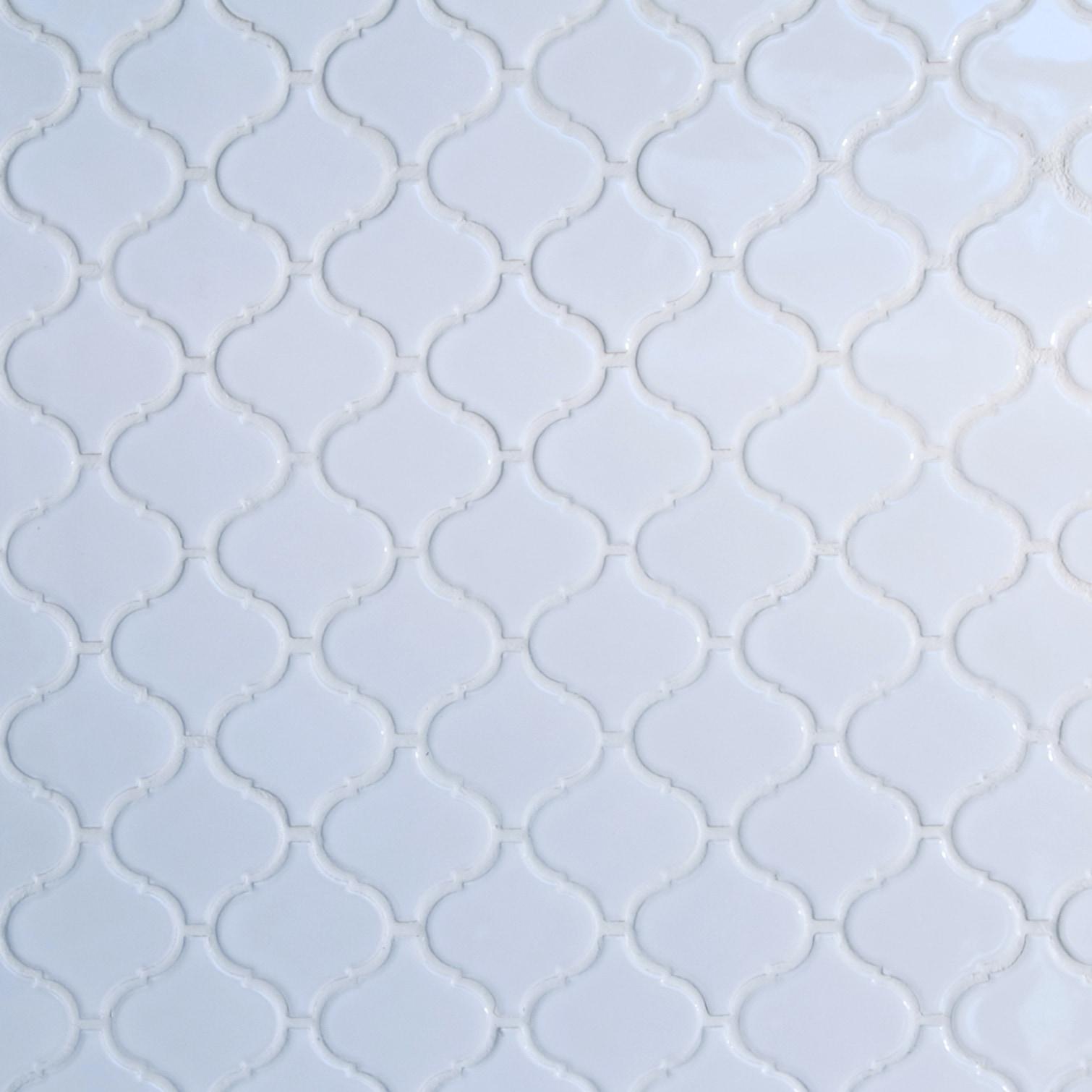"White, Wide Pattern / 3""x3"" / Glossy Arabesque Lantern Mosaics 0"