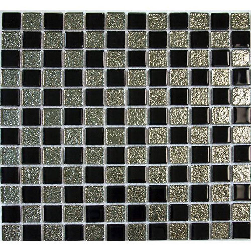 """Black and Chrome Backed Glass / 1""""x1"""" Checkerboard Pattern Glass Mosaics 0"""