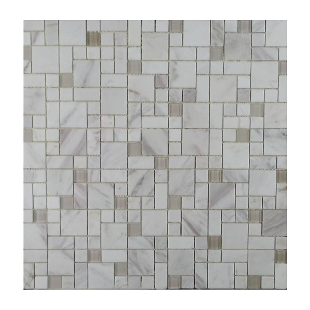 Gl Stone Tile Modular Pattern Stone And Glass Mosaic White Marble