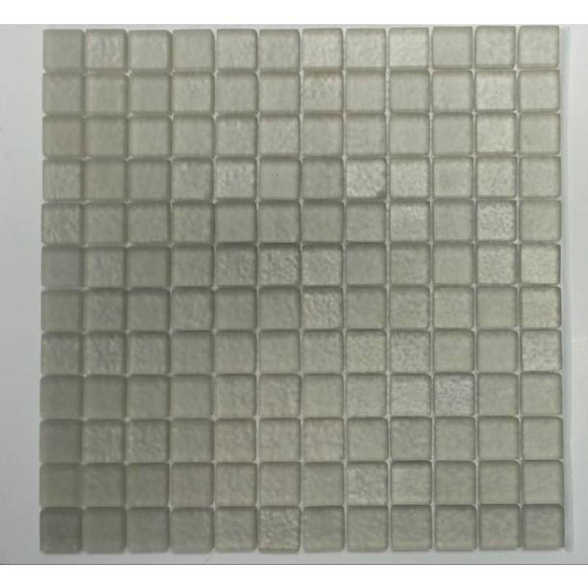 "Silver Gray / 1""x1"" Square Pattern Glass Mosaics 0"