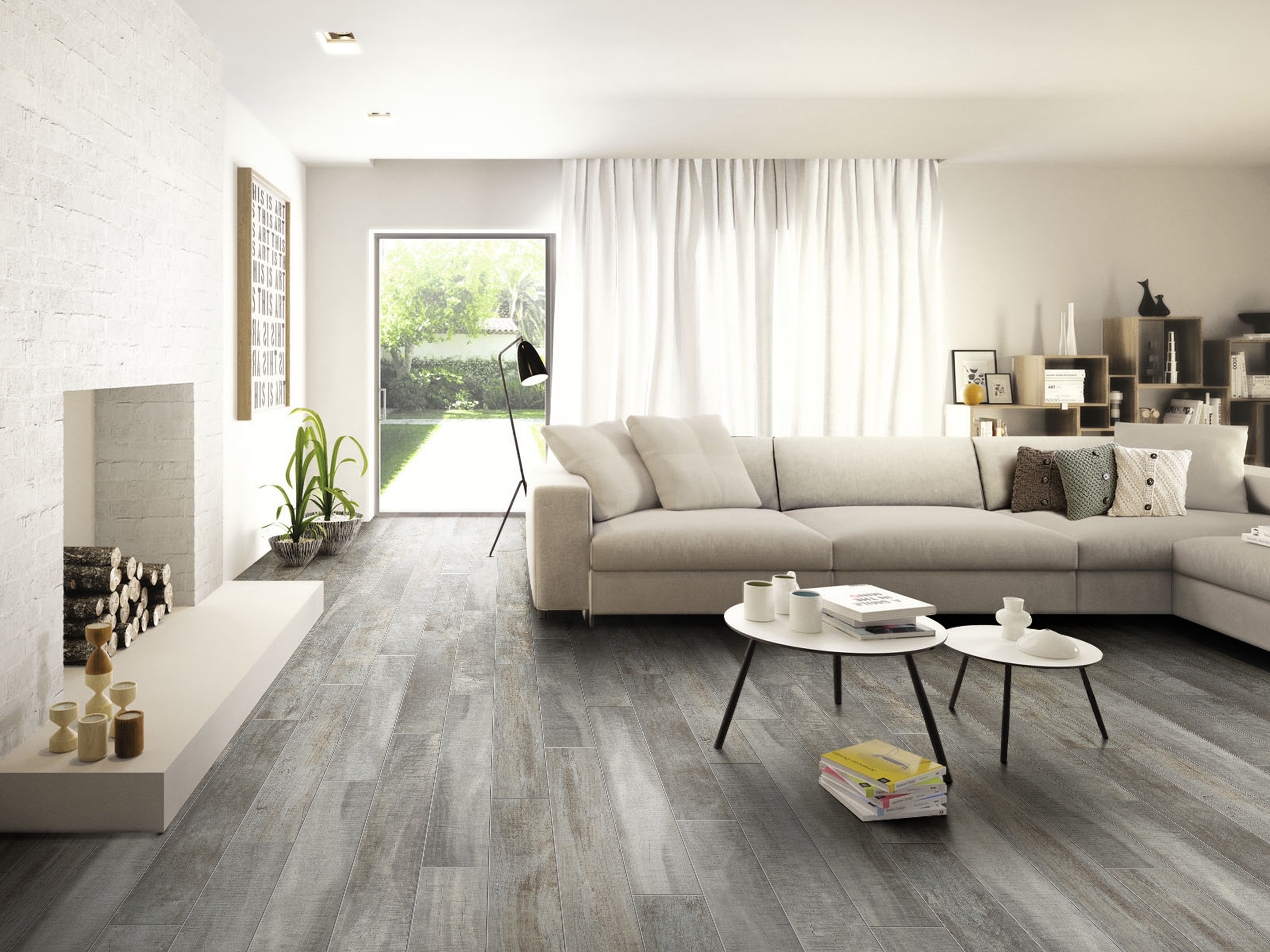 Salerno Porcelain Tile - Trail Wood Series Light Grey / 8\