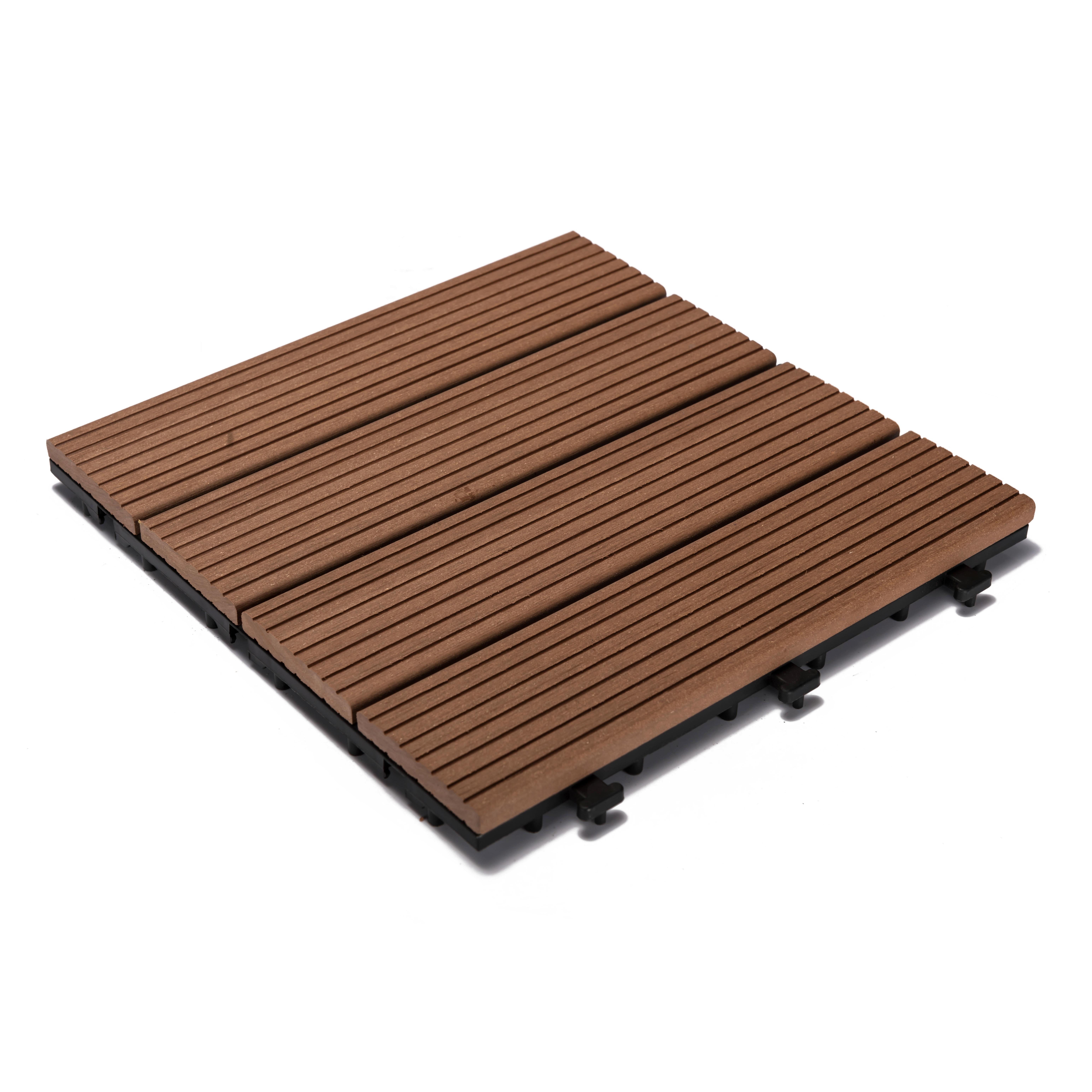 "Brown / 12""x12""x1"" Interlocking Deck Tiles - WPC series - 12""x12""x1"" 0"