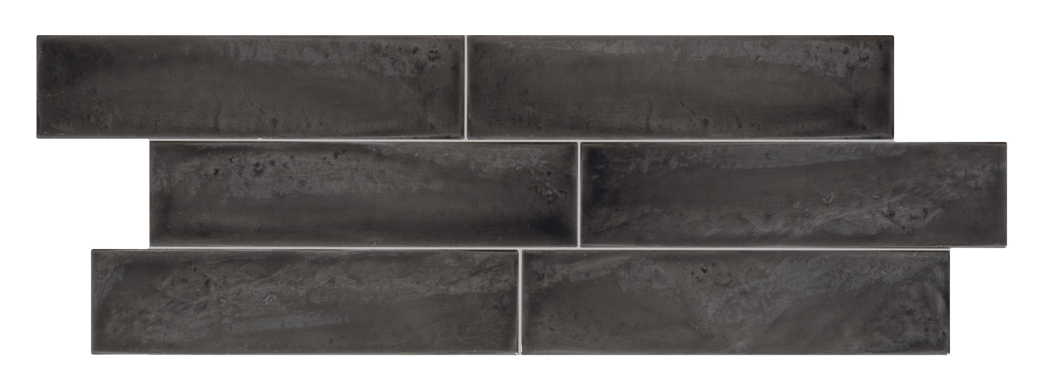 "Black / 3""x12"" / Glossy Italian Ceramic Tile - Granville Subway Wall 0"