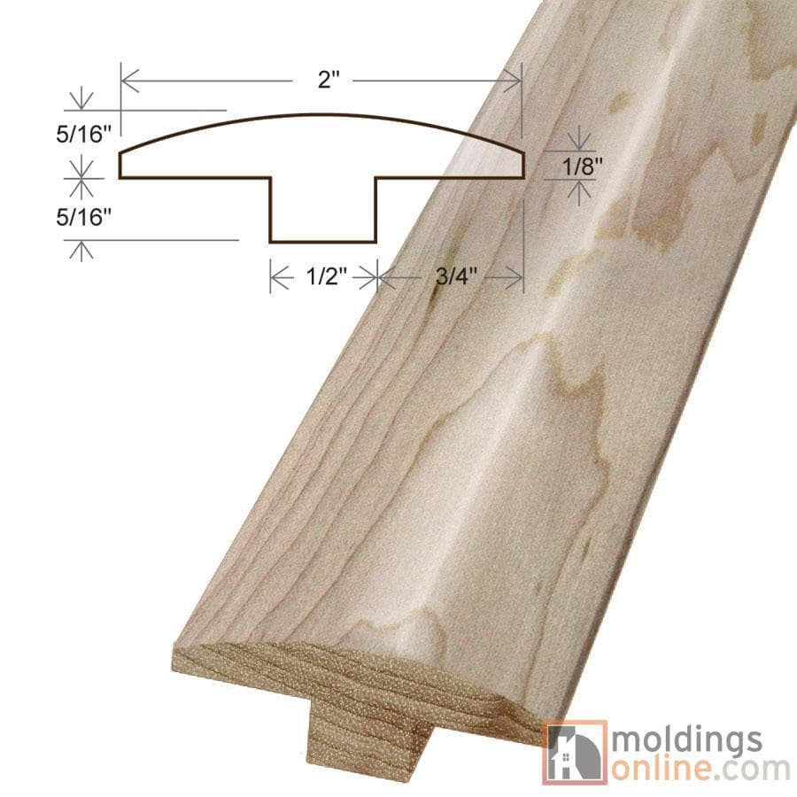 """Maple / T-Molding / 78"""" x 2"""" x 5/8"""" / Low-Gloss Maple Moldings - Collection 0"""