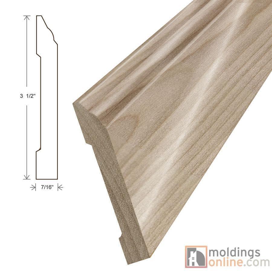 "Birch / Wall Base / 94"" x 3 1/2"" x 7/16"" / Semi-Gloss Birch Moldings - Collection 0"