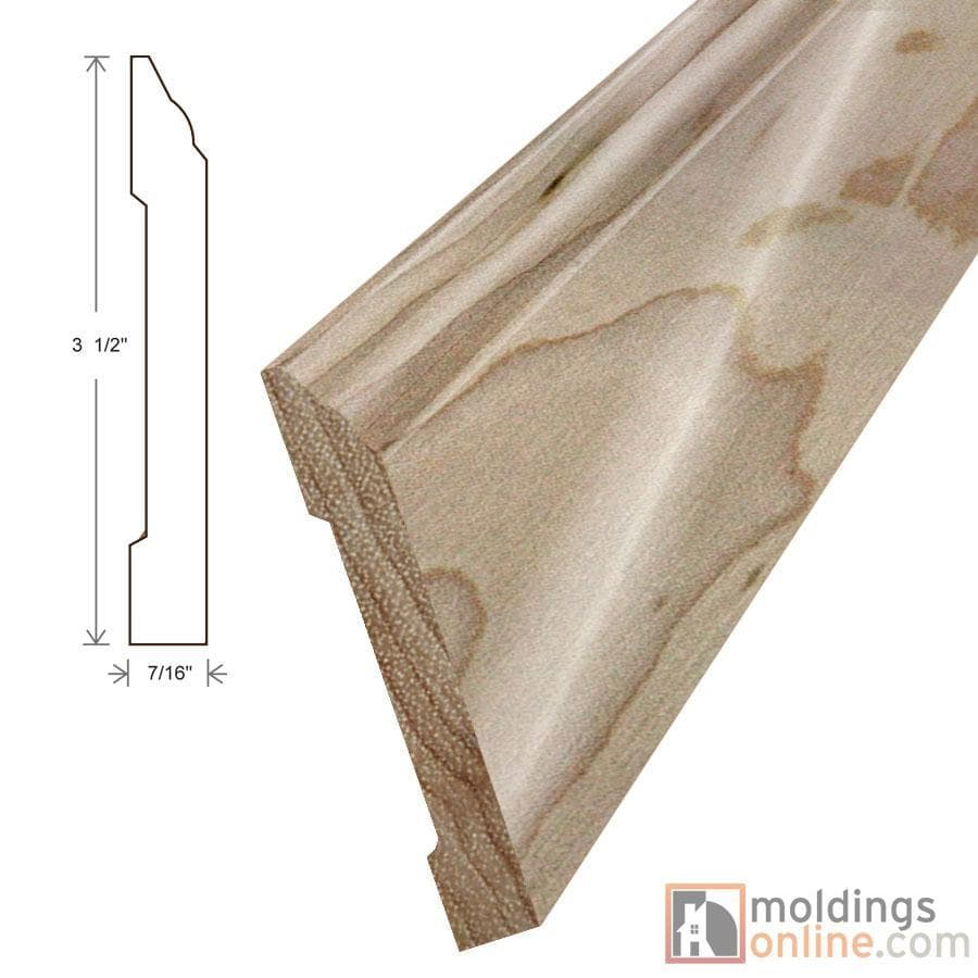 "Natural / Wall Base / 94"" x 7/16"" x 3 1/2"" Engineered Hardwood Moldings - Smooth Harvest - Natural 0"