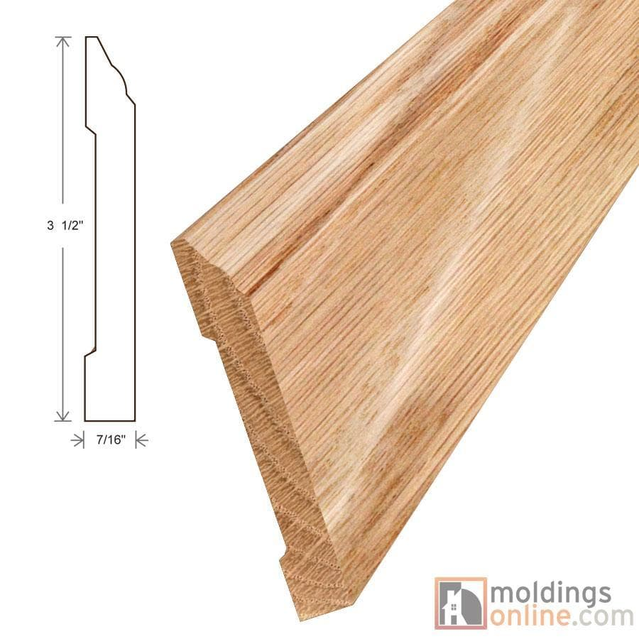 """Red Oak / Wall Base / 94"""" x 3 1/2"""" x 7/16"""" / Satin Red Oak Moldings - Collection 0"""