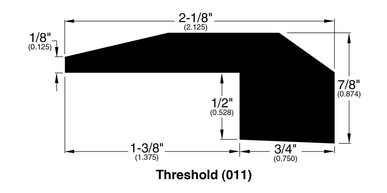 """Saddle / Threshold / 78"""" x 2 1/8"""" x 7/8"""" Hardwood Moldings - Forest Value - Saddle 0"""