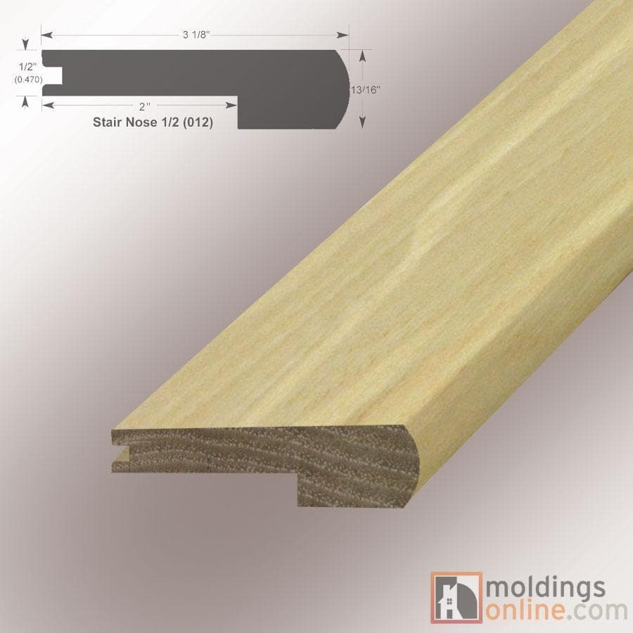 """Pecan / Stair Nose / 48"""" x 3 1/8"""" x 1/2"""" / Low-Gloss Pecan Moldings - Collection 0"""