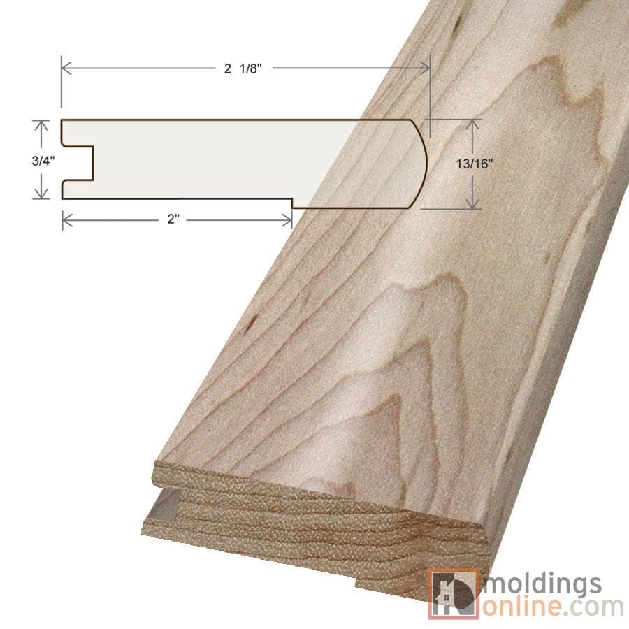 """Maple / Stair Nose / 48"""" x 3 1/8"""" x 3/4"""" / Unfinished Maple Moldings - Collection 0"""