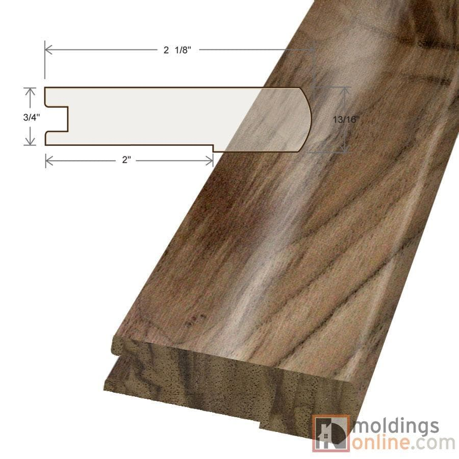 """Walnut / Stair Nose / 48"""" x 3 1/8"""" x 3/4"""" / Satin Walnut Moldings - Collection 0"""