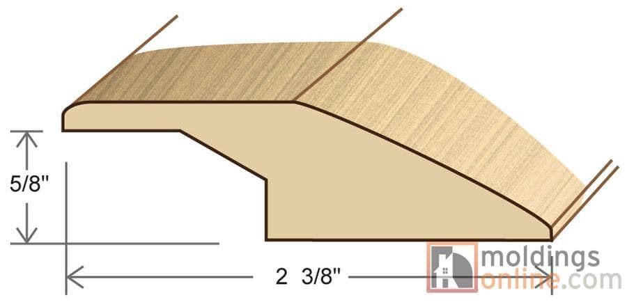 """Natural / Reducer - Overlapping / 78"""" x 2 3/8"""" x 5/8"""" Engineered Hardwood Moldings Unfinished Oak - Natural 0"""