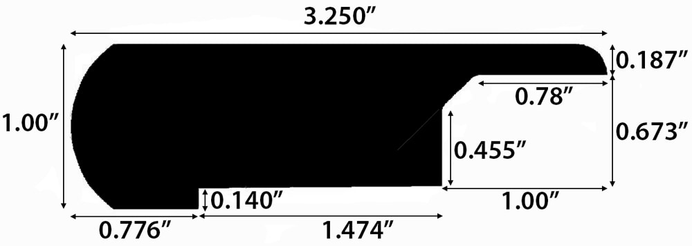 "Grey Wash / Stair Nose - Overlapping / 78"" x 3 1/4"" x 1"" Engineered Hardwood Moldings - European Long Length - Grey Wash 0"