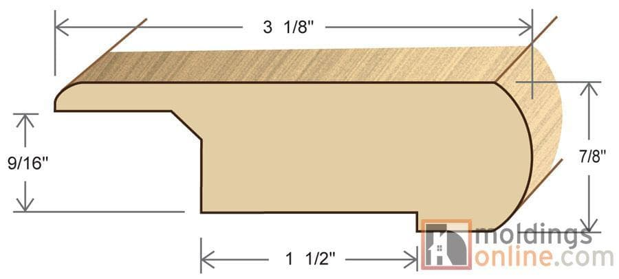 """Maple / Stair Nose - Overlapping / 78"""" x 3 1/8"""" x 7/8"""" / Unfinished Maple Moldings - Collection 0"""