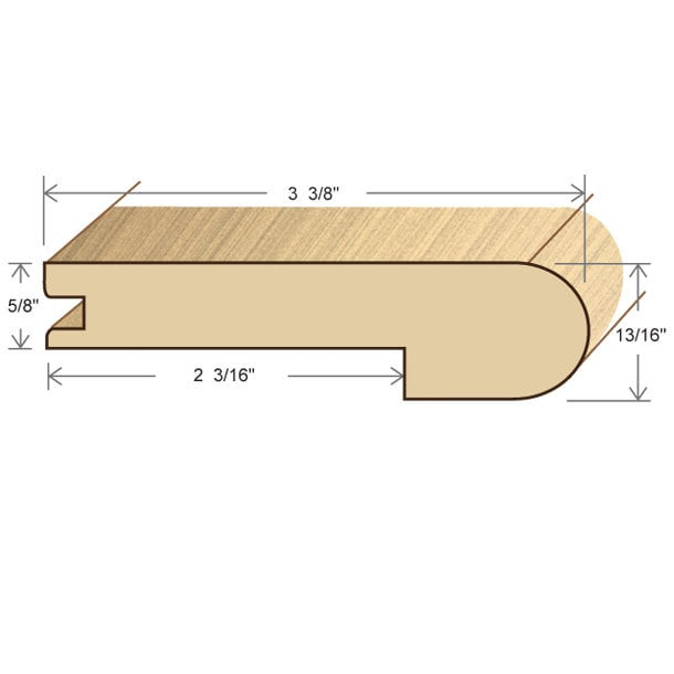 """White Oak / Stair Nose / 78"""" x 3 3/8"""" x 5/8"""" / Unfinished White Oak Moldings - Collection 0"""