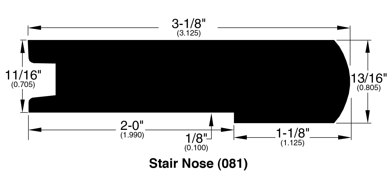 """Silver Spring / Stair Nose / 94"""" x 3.125"""" x 0.7"""" / Wire Brushed Hardwood Moldings - Silver Oak Collection 0"""