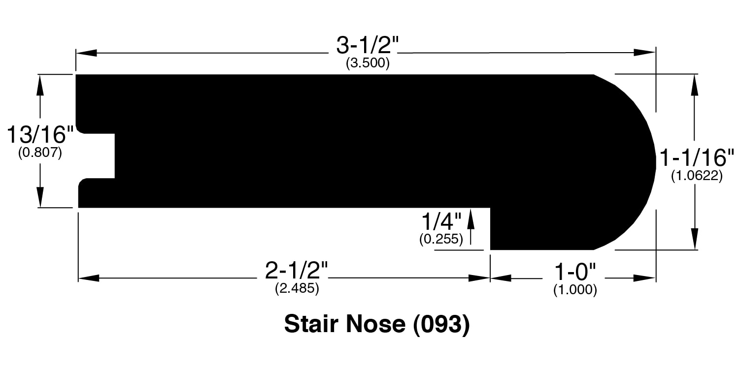 """Graphite / Stair Nose / 78"""" x 3.5"""" x 1.06"""" / Wire Brushed Hardwood Moldings - Canadian Wirebrushed Red Oak Collection 0"""