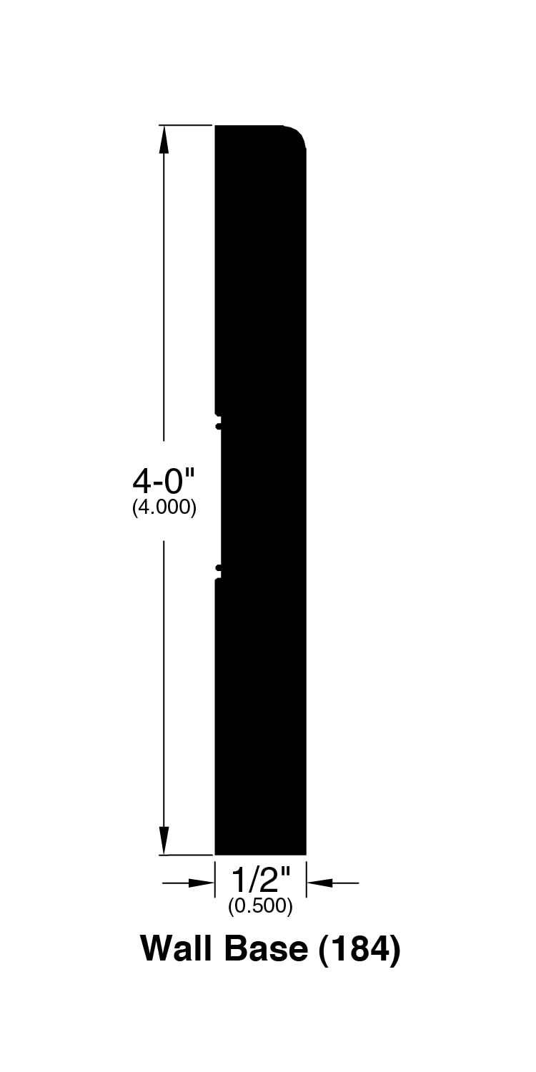 """Graphite / Wall Base 4"""" / 94"""" x 0.5"""" x 4"""" / Wire Brushed Hardwood Moldings - Canadian Wirebrushed Red Oak Collection 0"""