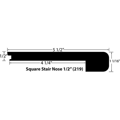 """Maple / Stair Nose - Square / 94"""" x 3 1/2"""" x 1 1/16"""" / Satin Maple Moldings - Collection 0"""