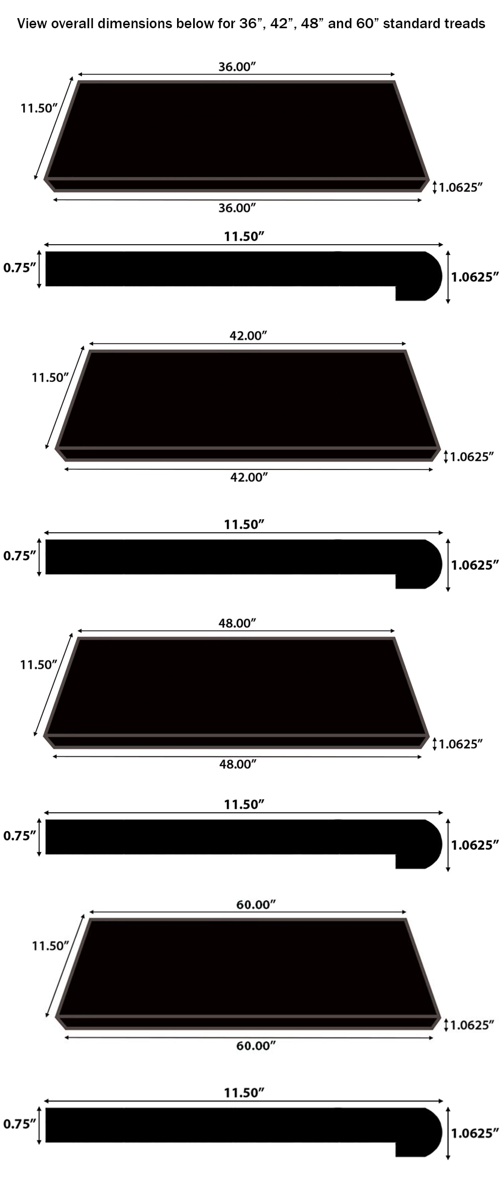 """Graphite / TREAD STANDARD NO RETURN 48 / 48"""" x 11.5"""" x 0.75"""" / Wire Brushed Hardwood Moldings - Canadian Wirebrushed Red Oak Collection 0"""