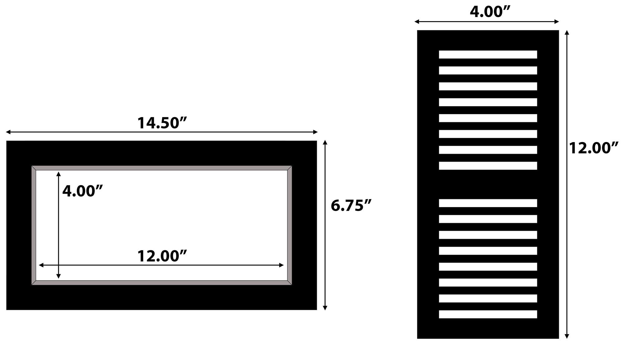 "Mocha Gray / Vent - Flush Mount / 12"" x 4"" x 3/4"" Solid Hardwood Moldings - European Industrial Maple - Mocha Gray 0"