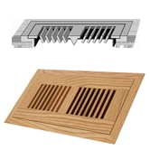 """Beech / Vent - Flush Mount / 12"""" x 6"""" x 3/4"""" / Unfinished Beech Vents - Collection 0"""