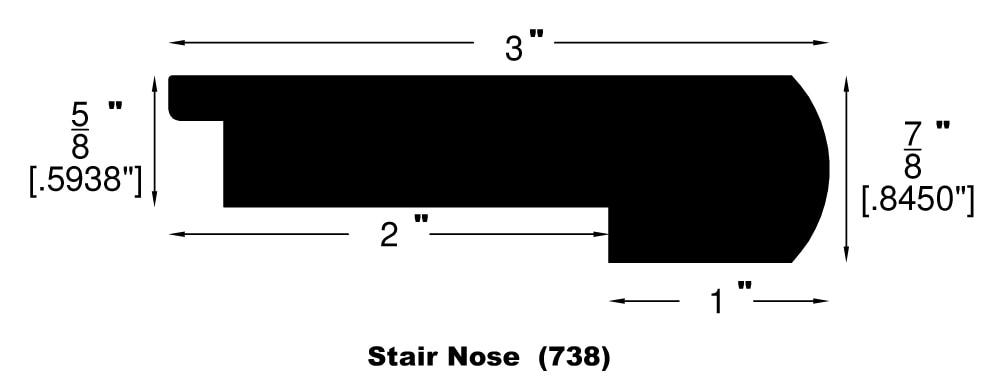 "Smooth Natural / Flush Stair Nose / 48"" x 3"" x 5/8"" Engineered Hardwood Moldings - Acacia - Smooth Natural 0"