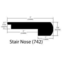 "Engineered Hardwood Moldings - Harbor Hickory Distressed - Venice - Venice / Flush Stair Nose / 78"" x 3"" x 7/8"""