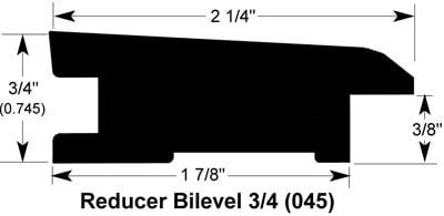 "Coffee / Reducer - Bilevel / 78"" x 2 1/4"" x 3/4"" Hardwood Moldings - Canadian Hard Maple - Coffee 0"