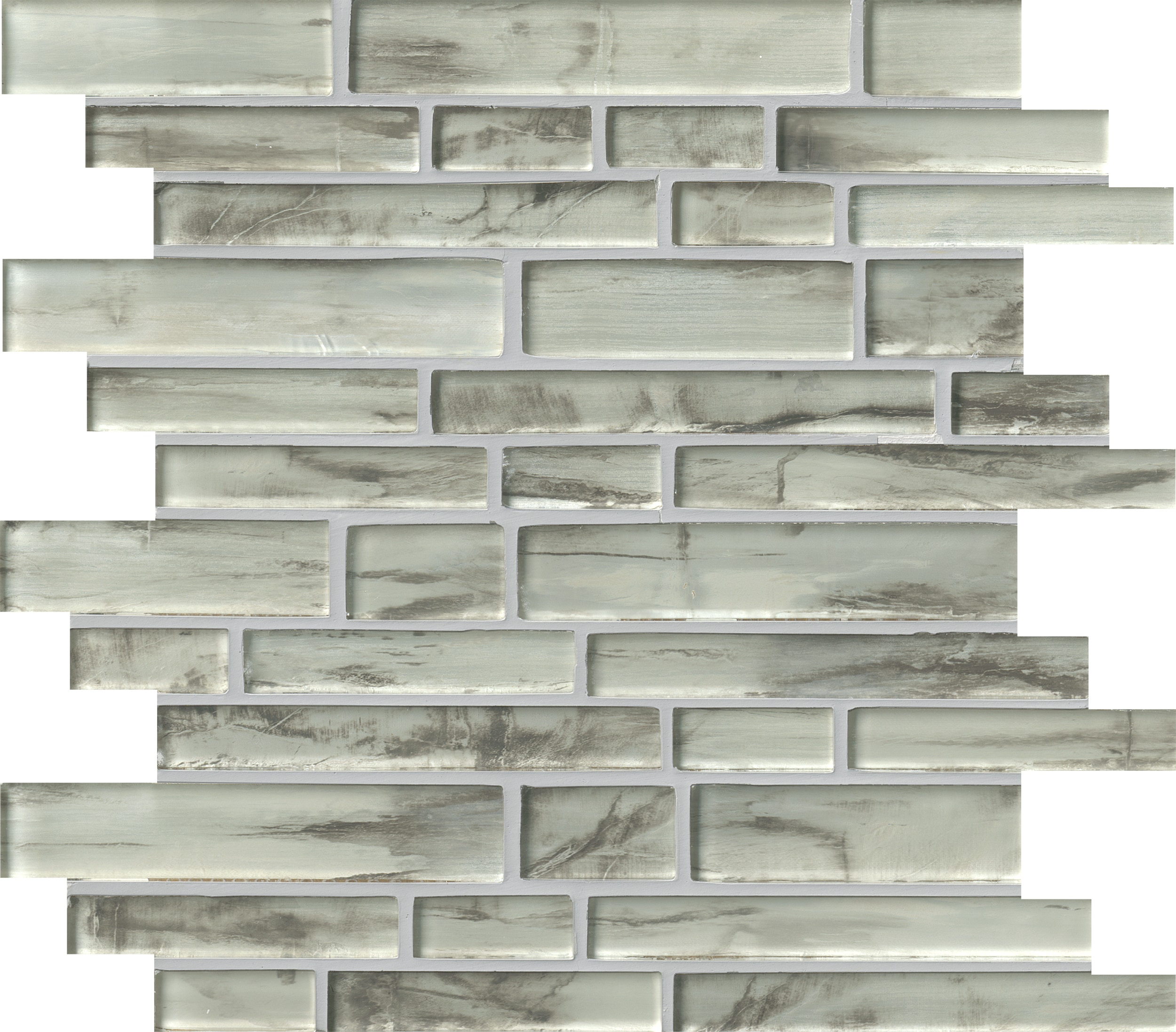 Silver Canvas Interlocking 8mm / Pattern / Smooth Glass Mosaic - Silver Canvas 0