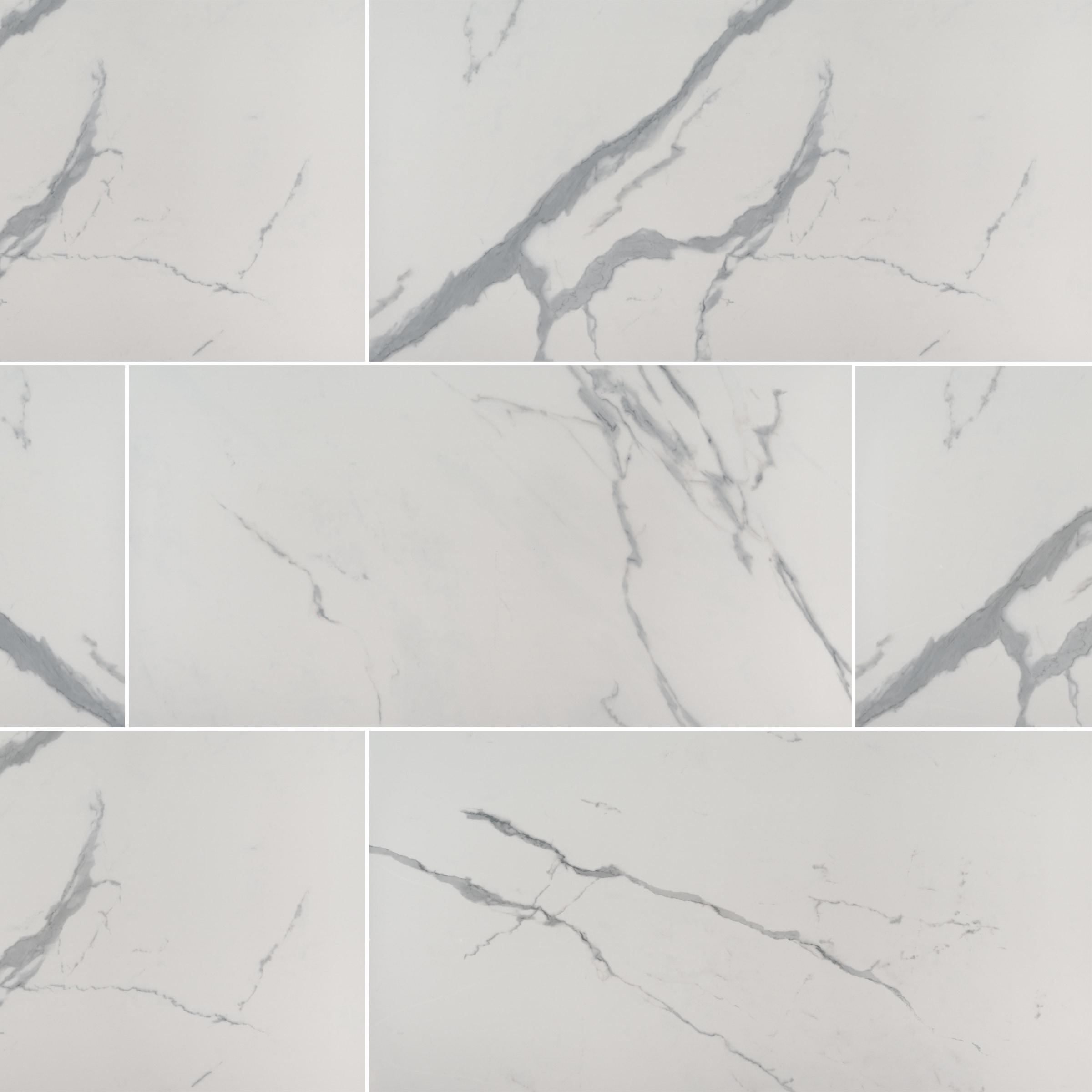 "Classic White Marble / 24""x48"" / MATTE Porcelain Tile - Creation Stone Series 0"