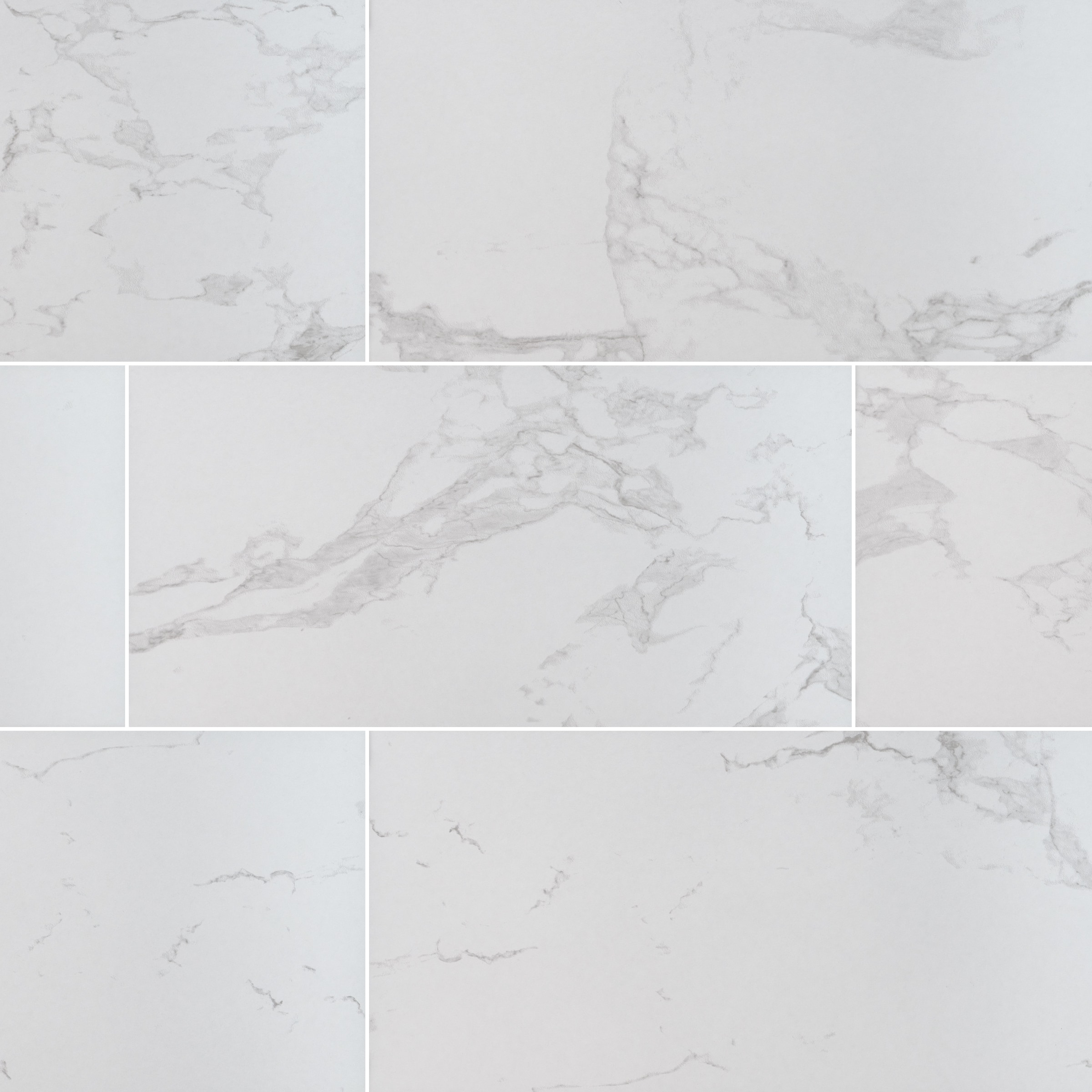 "Carrara / 24""x48"" / POLISHED Porcelain Tile - Seaside Marble Series 0"