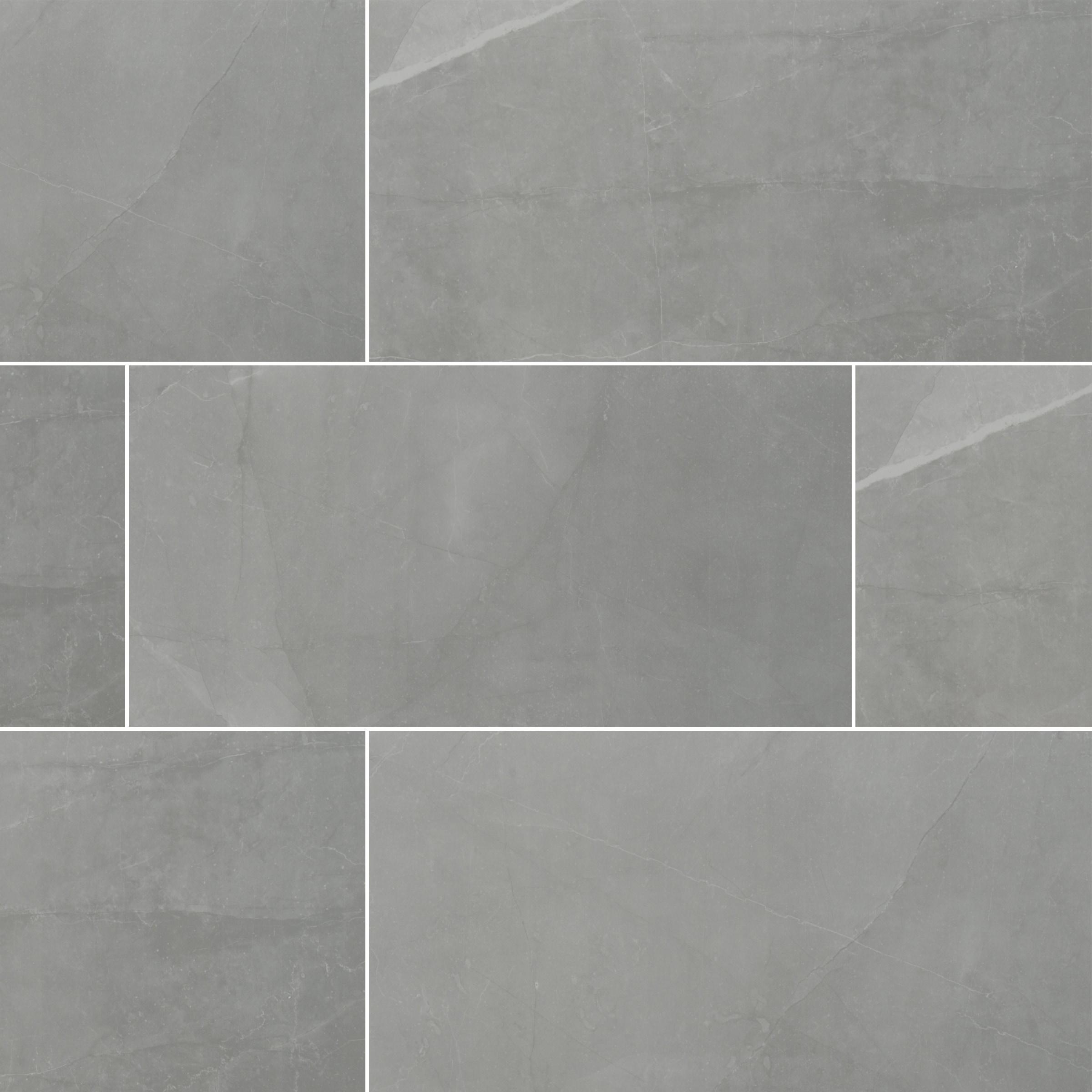 """Slate Grey / 24""""x48"""" / MATTE Porcelain Tile - Riverbank Stone Series 0"""
