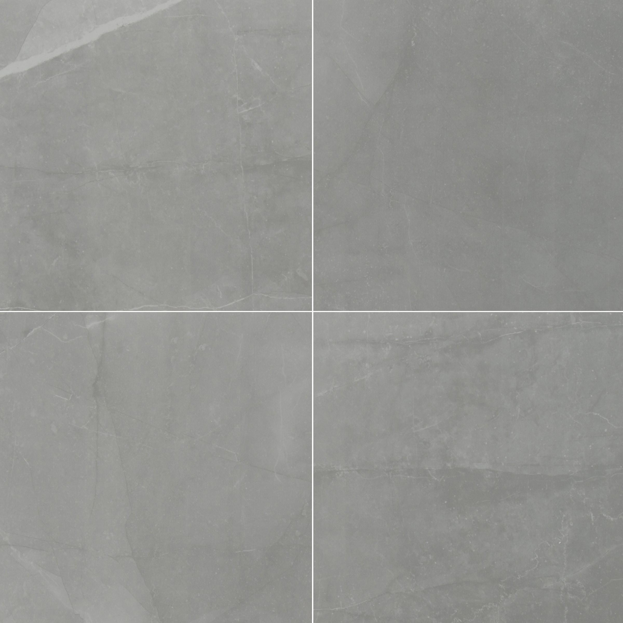 "Slate Grey / 24""x24"" / POLISHED Porcelain Tile - Riverbank Stone Series 0"