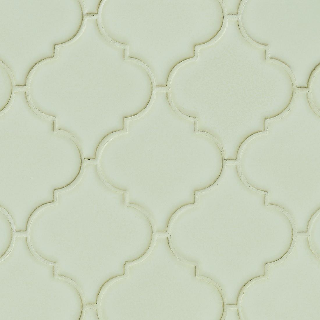 Arabesque 8mm / Pattern / Glossy Ceramic Tile - Antique White 0