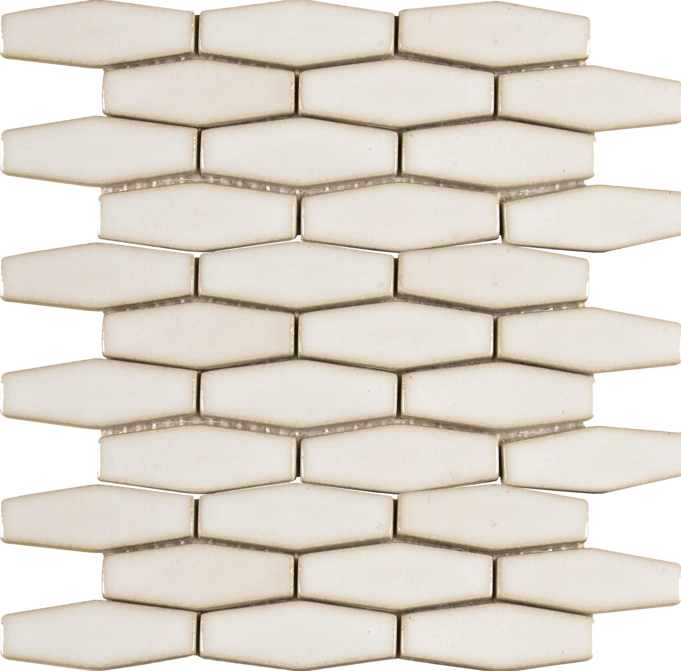 Elongated Hexagon 8mm / Pattern / Glossy Ceramic Tile - Antique White 0