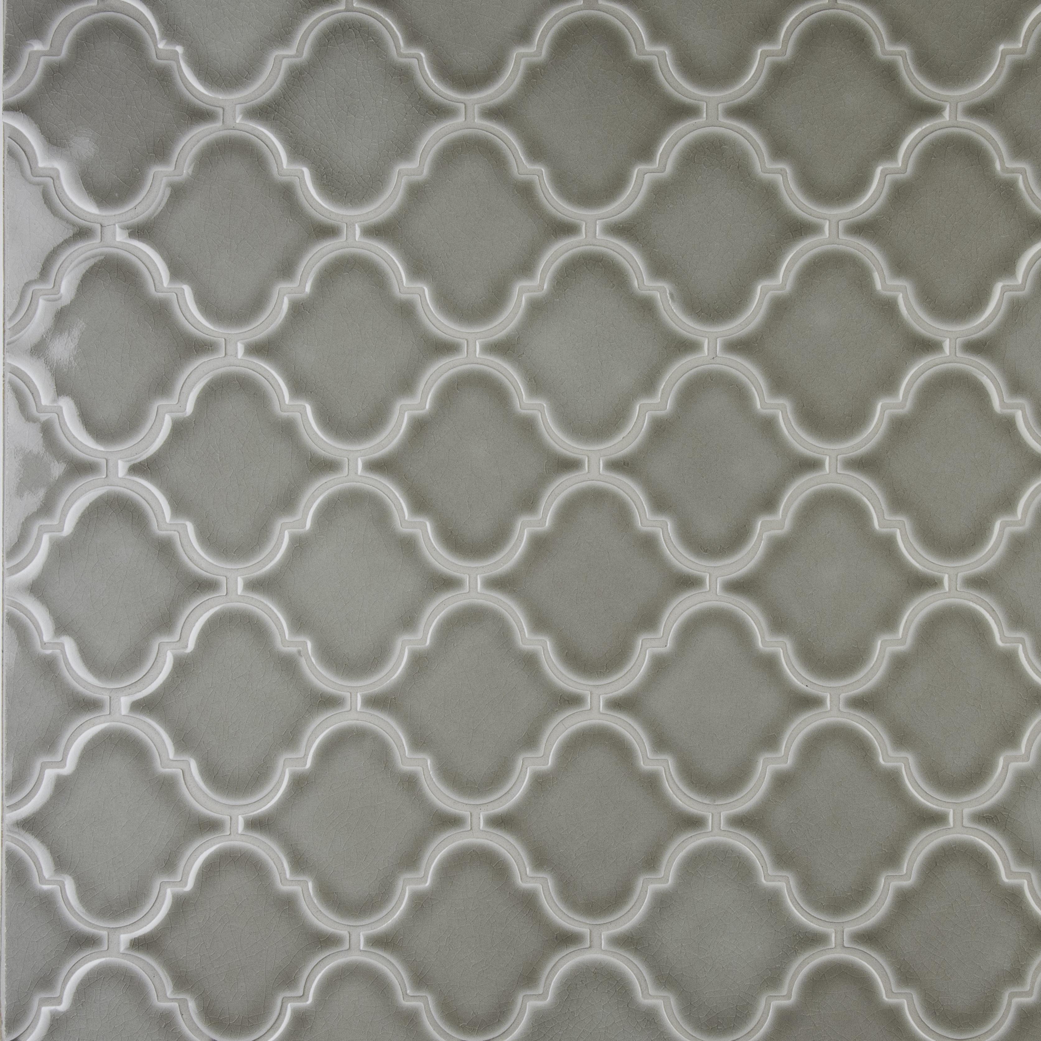 Arabesque 8mm / Pattern / Glossy Ceramic Tile - Dove Gray 0