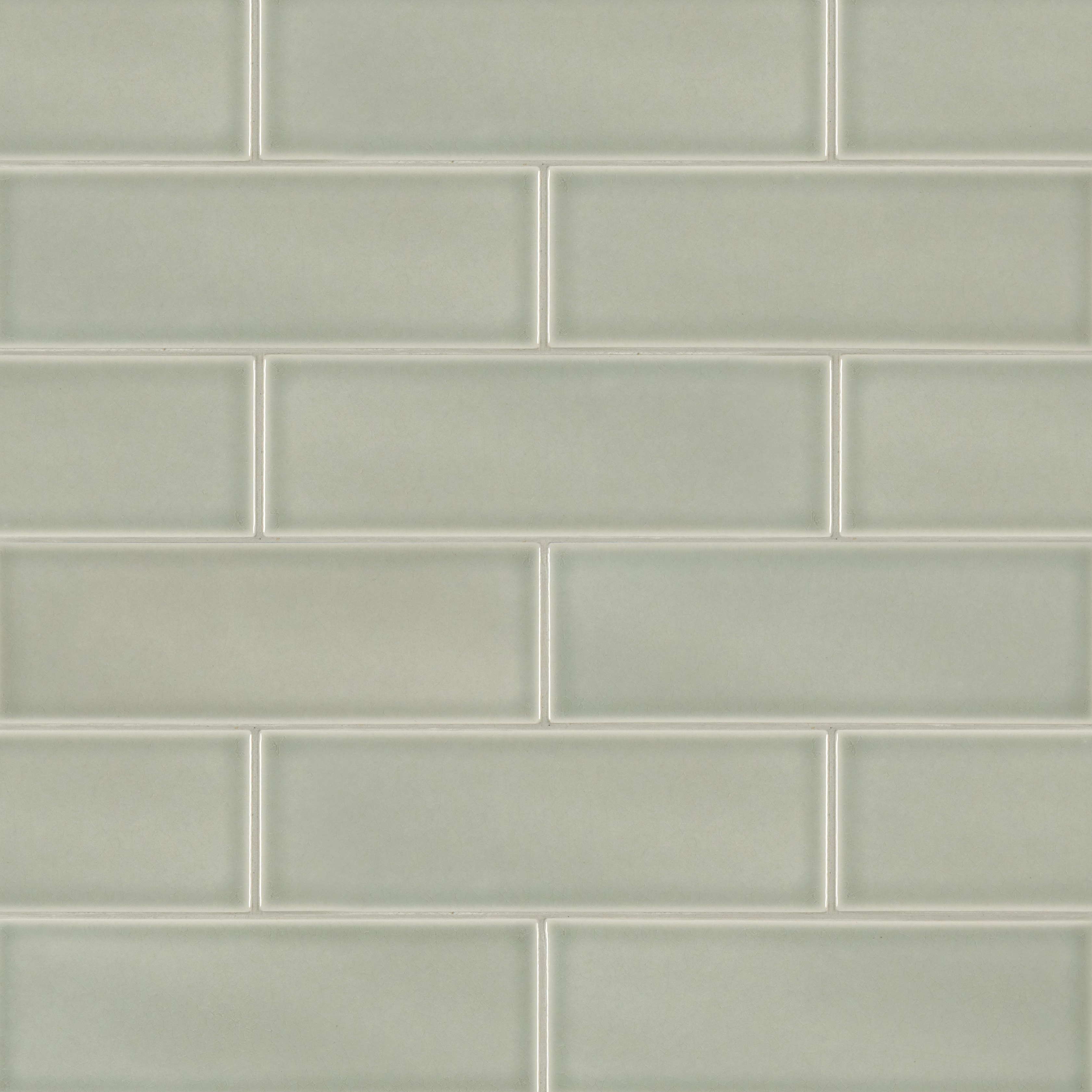 "Glazed Handcrafted / 3""x6"" / Glossy Ceramic Tile - Morning Fog 0"