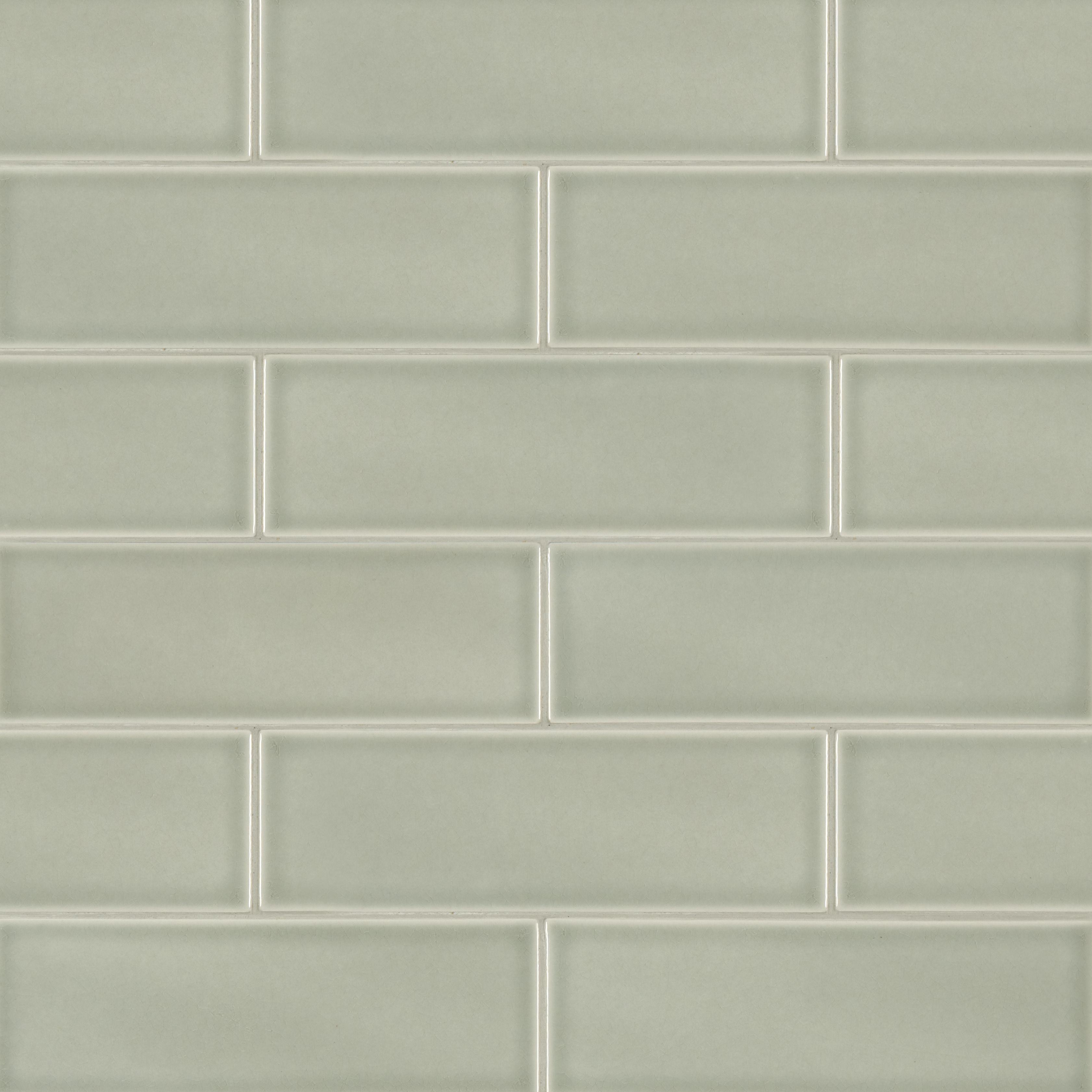 "Glazed Handcrafted / 4""x12"" / Glossy Ceramic Tile - Morning Fog 0"