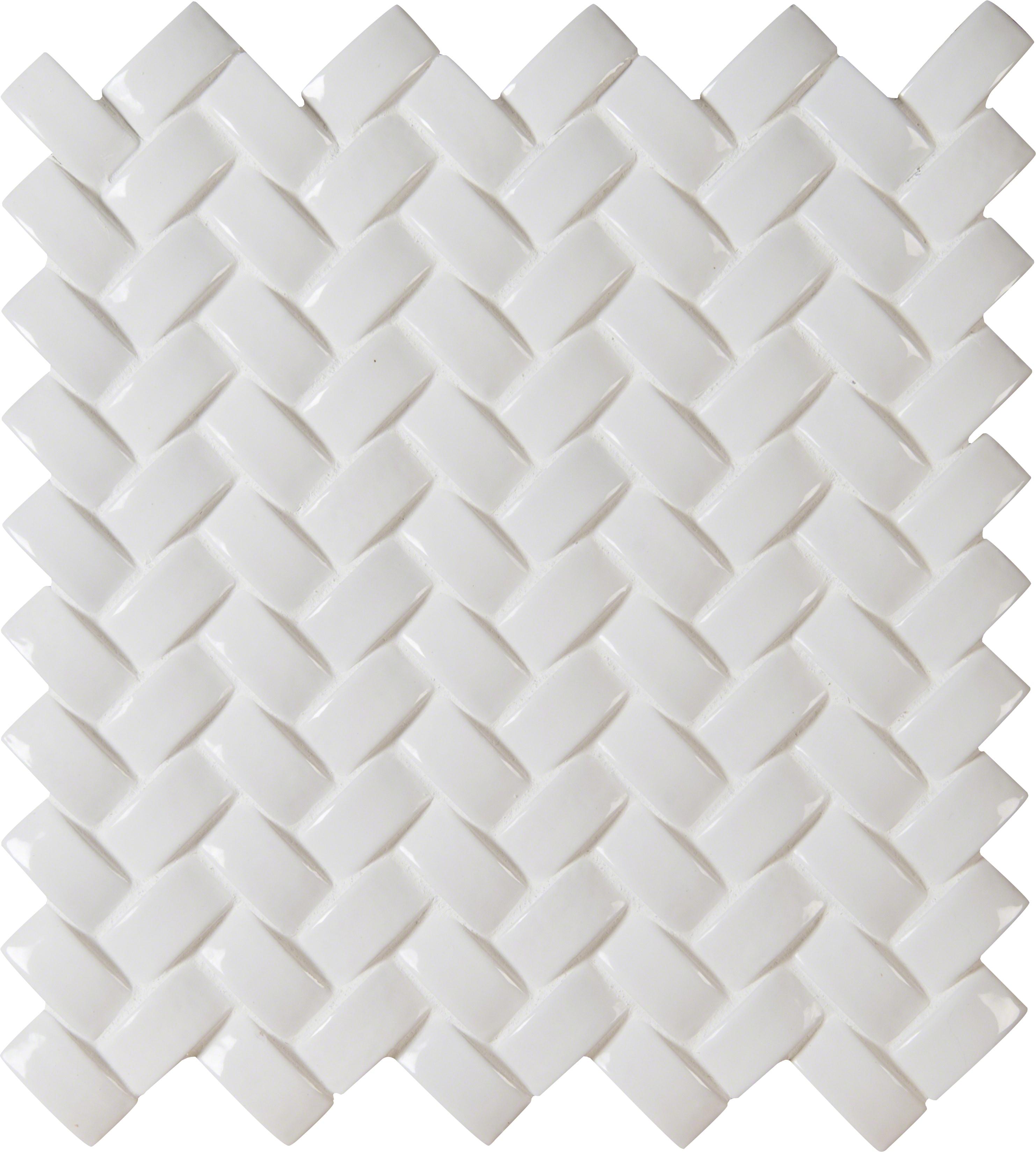 Arched Herringbone 8mm / Pattern / Glossy Ceramic Tile - Whisper White 0