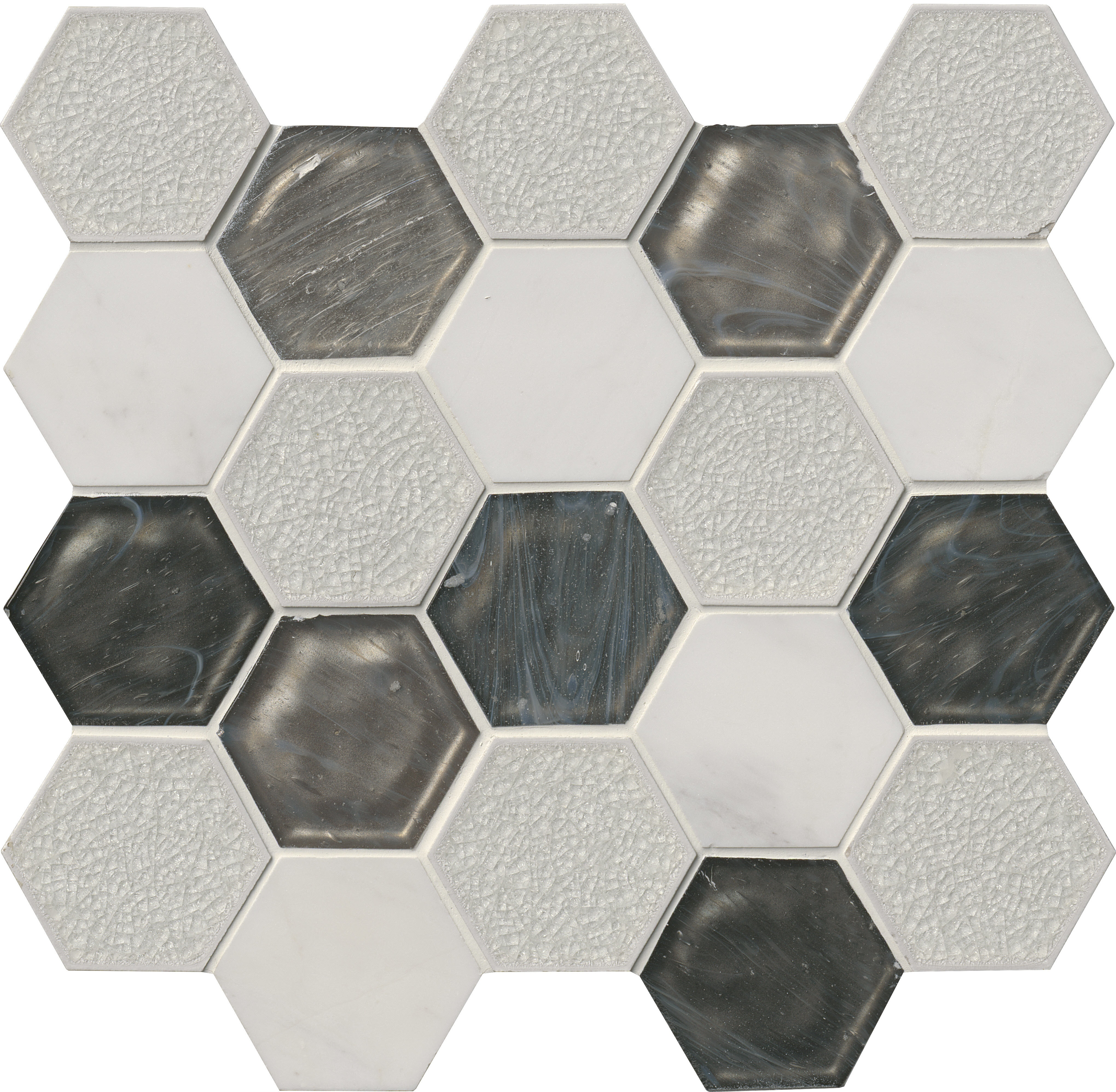 """Circa Zirconia Hexagon / 3"""" / Mixed Glass Mosaic - Circa Zirconia 0"""