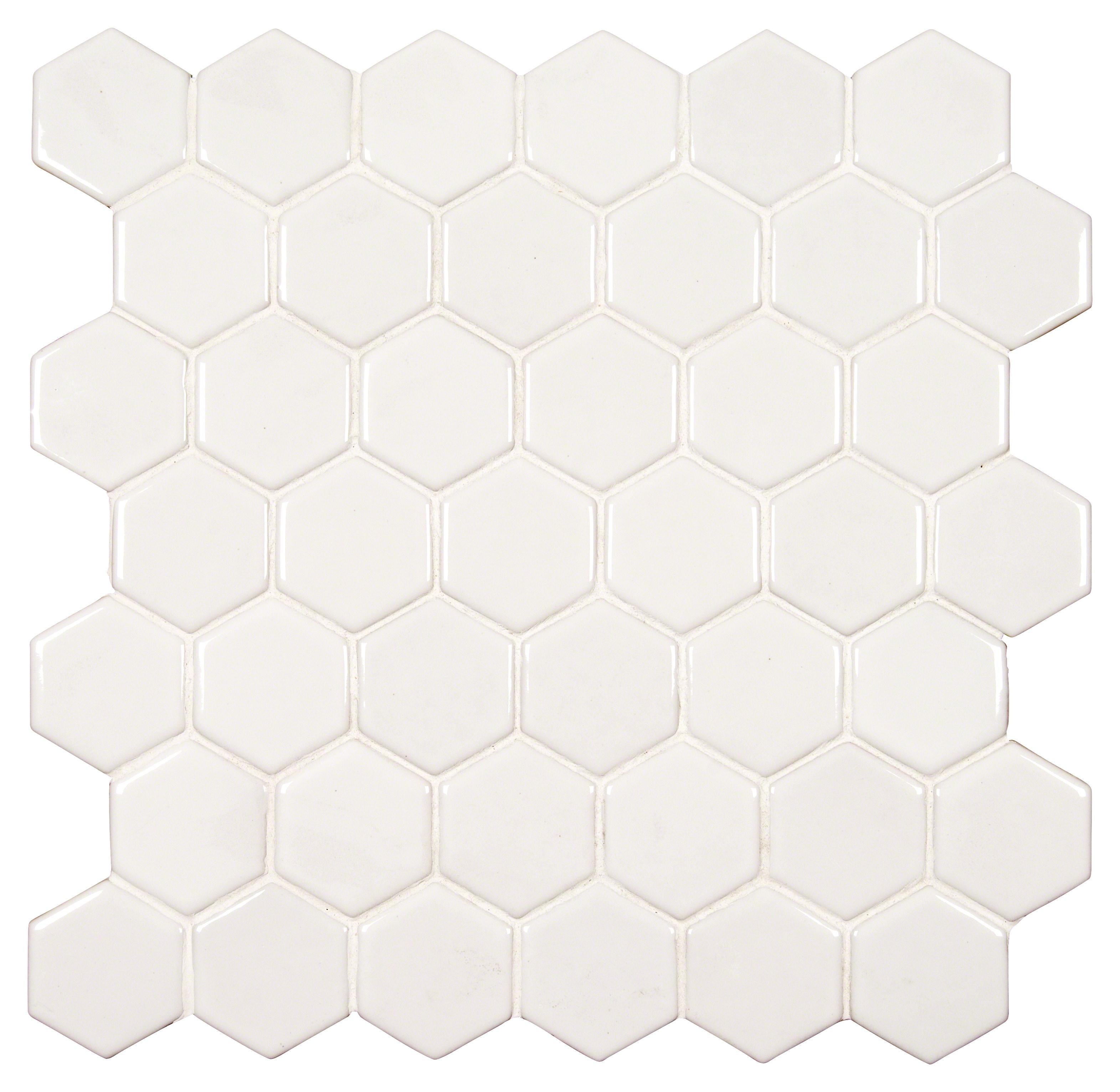 """Hexagon 8mm / 2"""" / Glossy Ceramic Tile - Whisper White 0"""