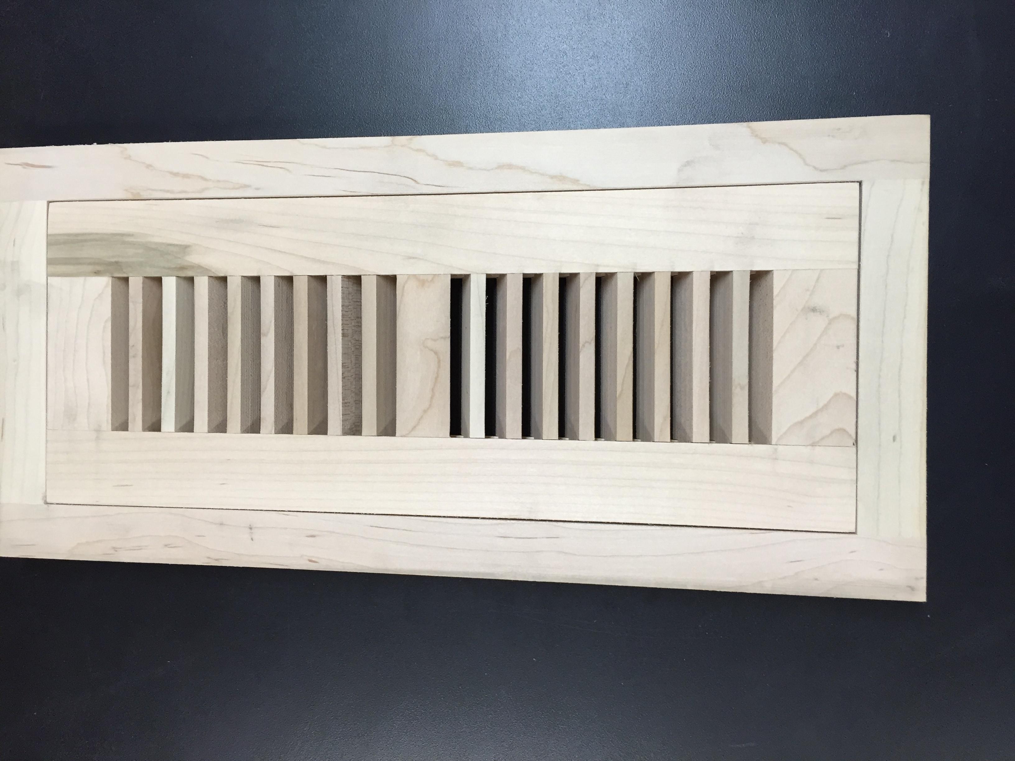 "Flushmount Unfinished Vent / Hard Maple / 4"" X 10"" / Flushmount Vent Floor Molding - Flush Mount Hardwood Floor Vents 0"