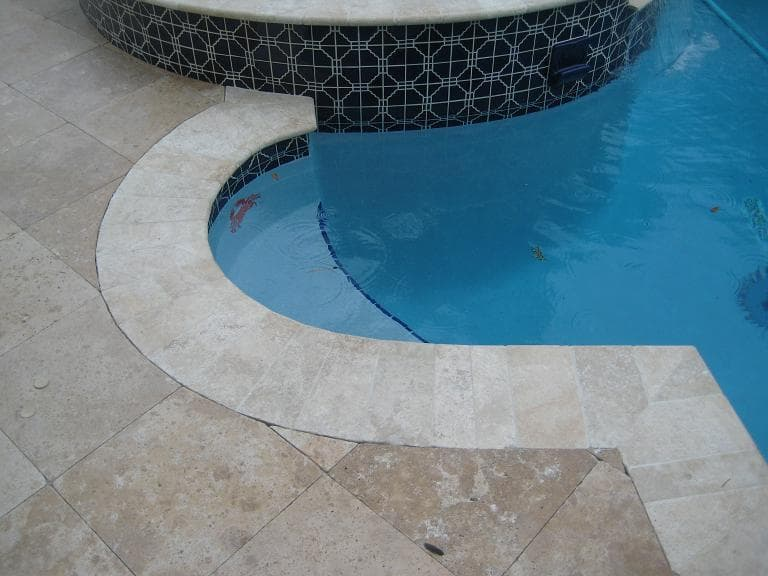 Strata Travertine Bull Nose Pool Copings Tumbled Bull Nose Coping - Bullnose tiles for pools
