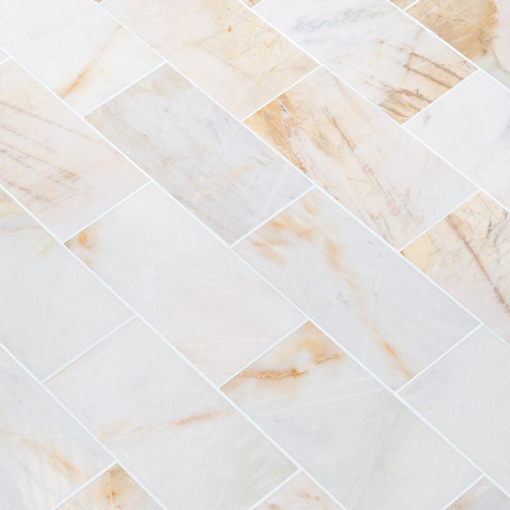 Troya Marble Tile Giallo Bianco White 12x24 Polished