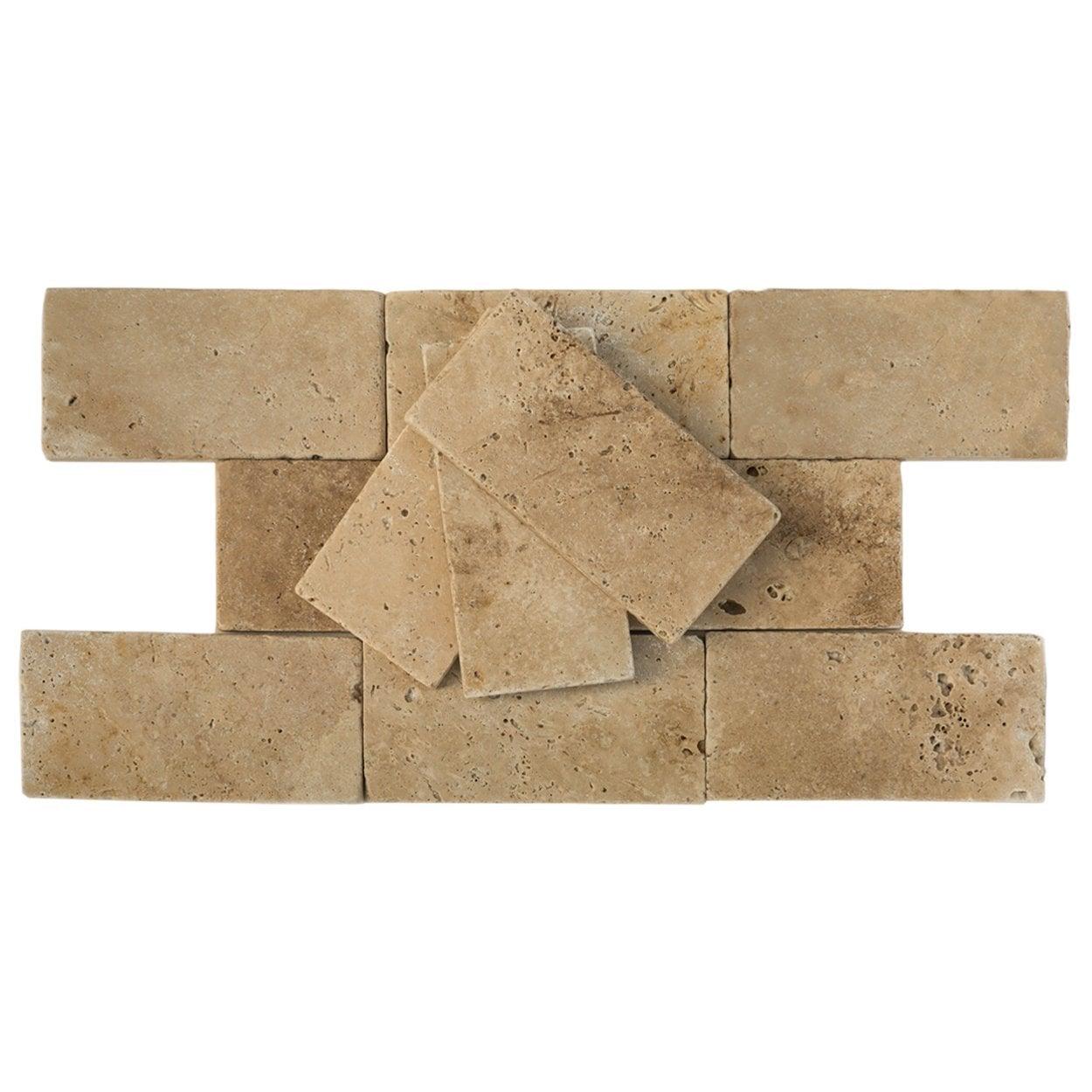 "Light Beige / 3""x6""x3/8"" / Tumbled Antique Tumbled Travertine Backsplash Tiles 0"