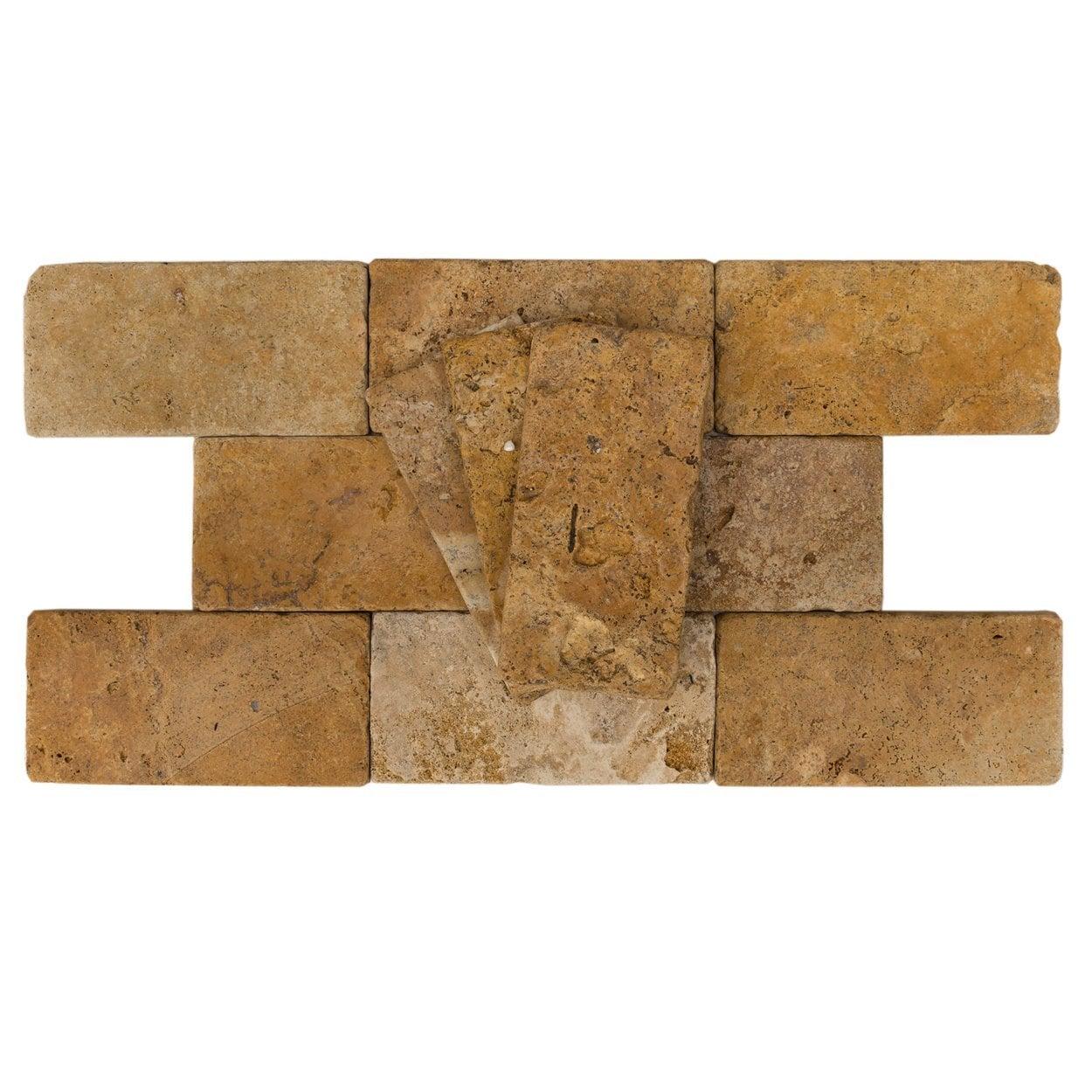 "Gold-Rustic-Yellow / 3""x6""x3/8"" / Tumbled Antique Tumbled Travertine Backsplash Tiles 0"