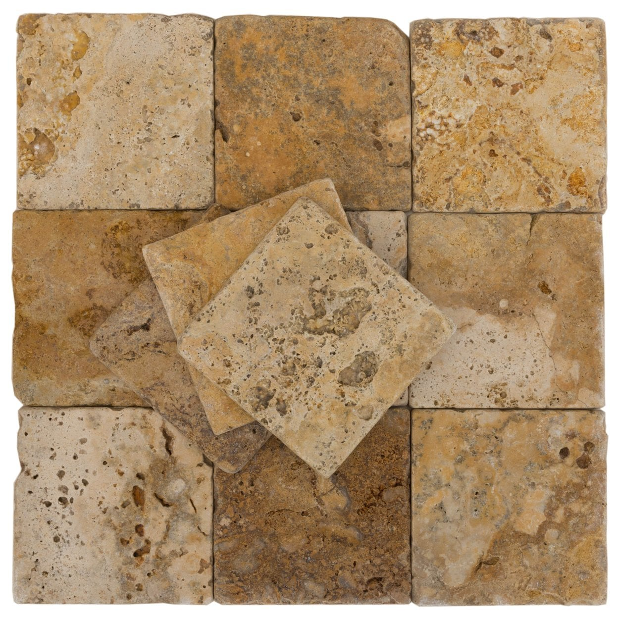 "Gold-Rustic-Yellow / 4""x4""x3/8"" / Tumbled Antique Tumbled Travertine Backsplash Tiles 0"